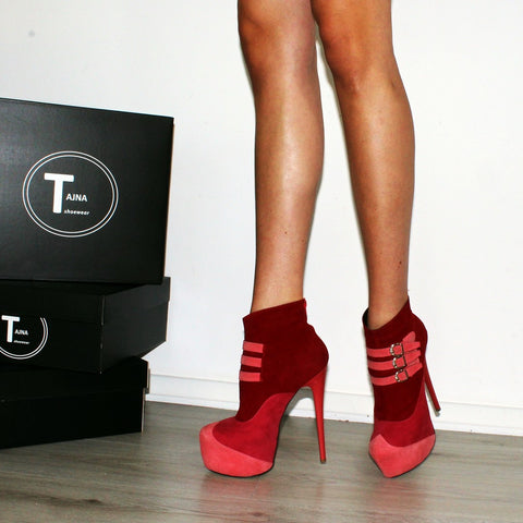 Belted Multi Color Red Pink Platform Ankle Boots - Tajna Club