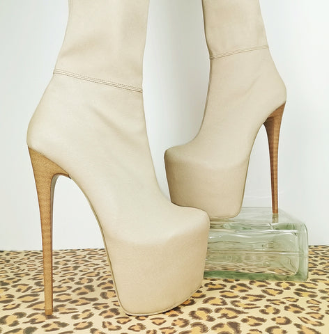 Cream Nude Thigh High Platform Boots - Tajna Club