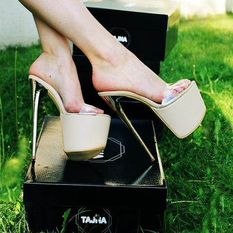 Nude Platform Mules With Transparent Strap - Tajna Club