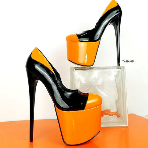 Orange Black Patent High Heel Pumps - Tajna Club