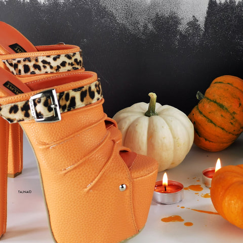 Orange Leopard Strap High Heel Mules - Tajna Club