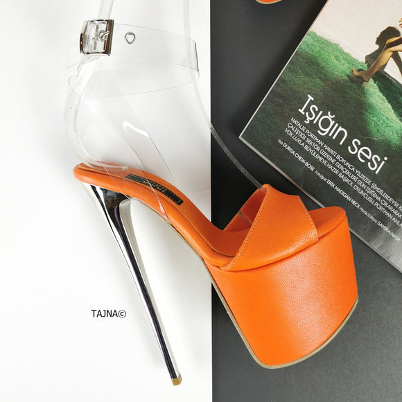 Orange Transparent High Heel Sandals - Tajna Club