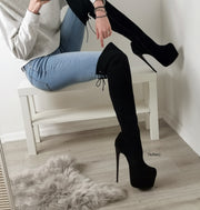 Black Suede Over Knees High Heel Boots - Tajna Club