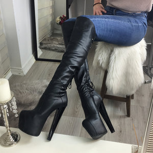 Black Stylish Over The Knee Boots - Tajna Club