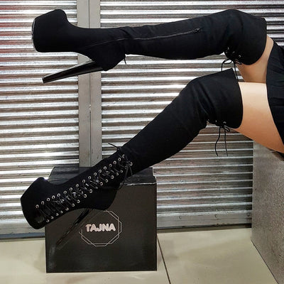 Black Suede Knee High Platform Boots - Tajna Club