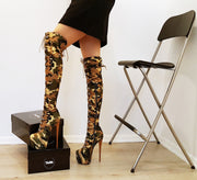 Camouflage Knee High Platform Boots - Tajna Club