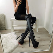 Black Matte Military Lace Up Knee High Boots - Tajna Club