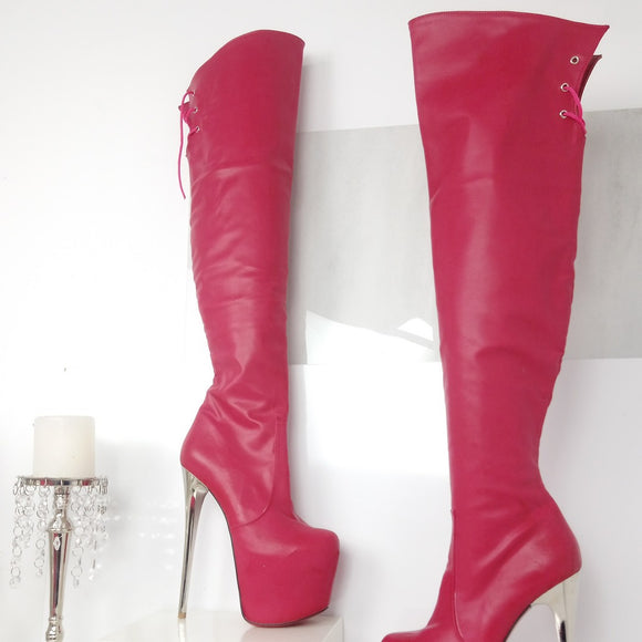 Pink Silver Heel Knee High Boots - Tajna Club