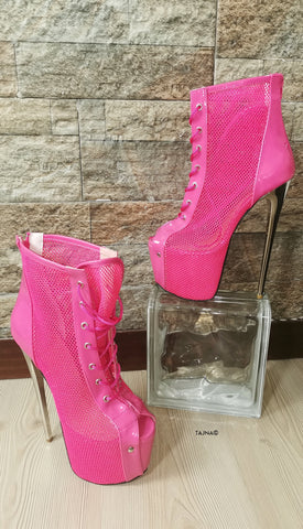Pink Lace Up Fishnet Booties - Tajna Club