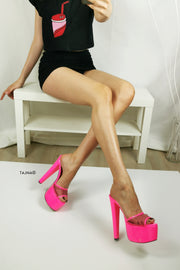 Neon Pink Fishnet High Heel Mules - Tajna Club