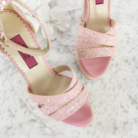 Light Pink Glitter Bridal High Heels - Tajna Club