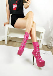 Doll Pink Military Style Lace Up Boots - Tajna Club
