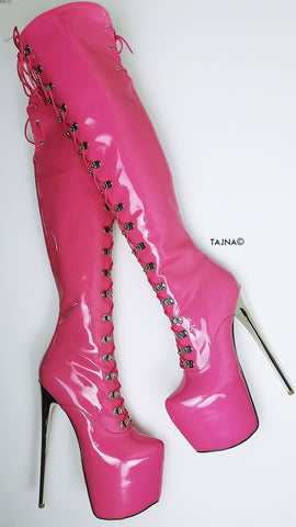 Doll Pink Patent Military Style Over Knee Boots - Tajna Club