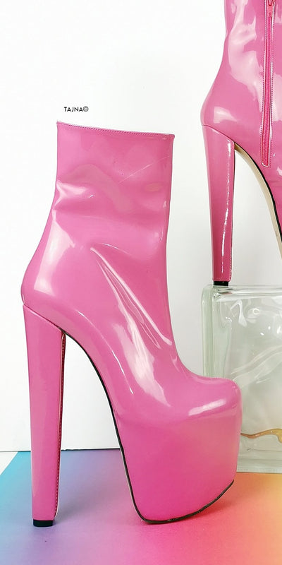 Lovely Pink Patent Chunky Heel Boots - Tajna Club