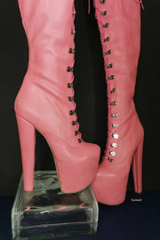 Pink Strech Over Knee Military High Heel Boots - Tajna Club