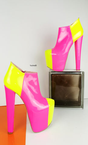 Pink Yellow Neon Ankle Platform Boots - Tajna Club