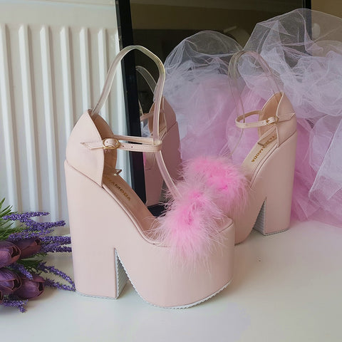 Light Pink Fury High Heel Wedge Platform Wedges - Tajna Club