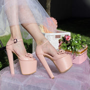Light Pink 19 cm Heel Platform Shoes with Ribbon - Tajna Club