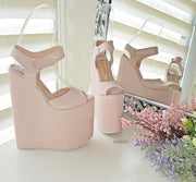 Powder Light Pink High Heel Wedge Platform Shoes - Tajna Club