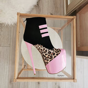 Leopard Pink Black Ankle Booties - Tajna Club