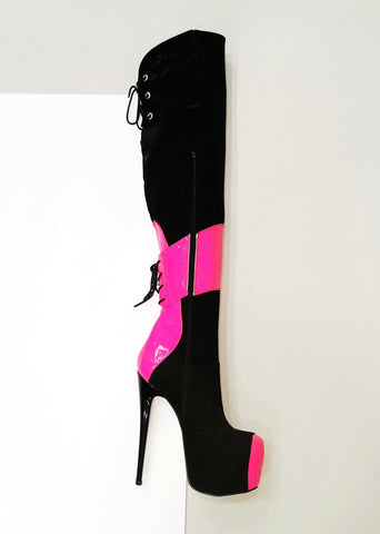 Black Neon Pink Knee High Boots - Tajna Club