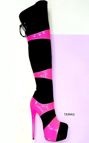 Sirius Double Colour High Heel Boots - Tajna Club