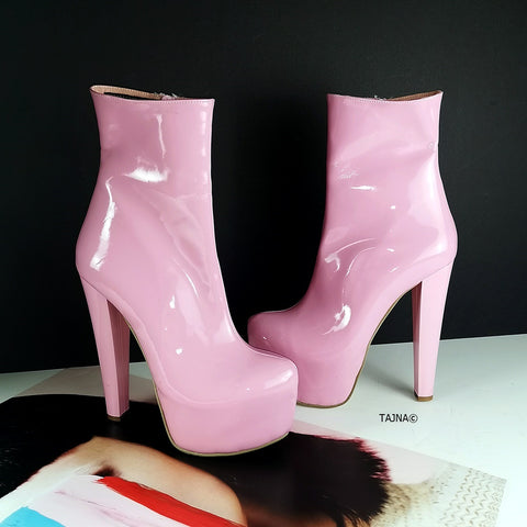Light Pink Patent Platform Ankle Booties - Tajna Club