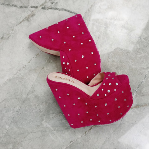 Pink Gemstone Platform Heel Wedge Mules - Tajna Club