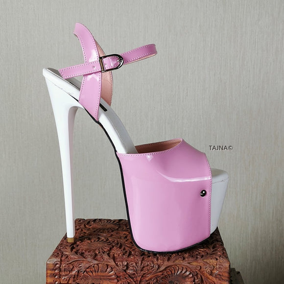 Pink White Patent High Heel Sandals - Tajna Club