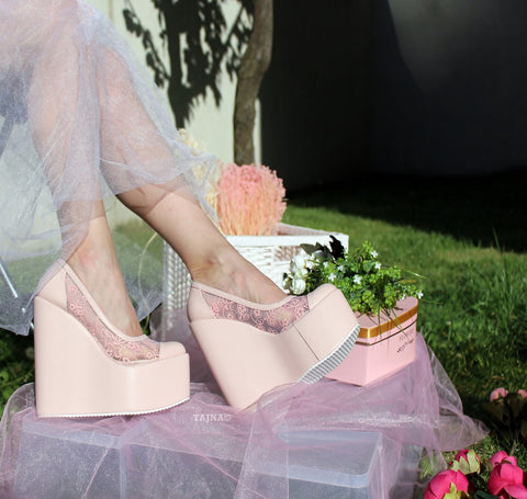Lace Pink Powder High Heel Wedge Shoes - Tajna Club