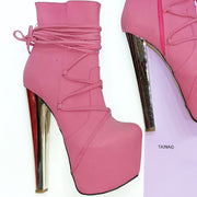 Long Laced Pink High Heel Booties - Tajna Club