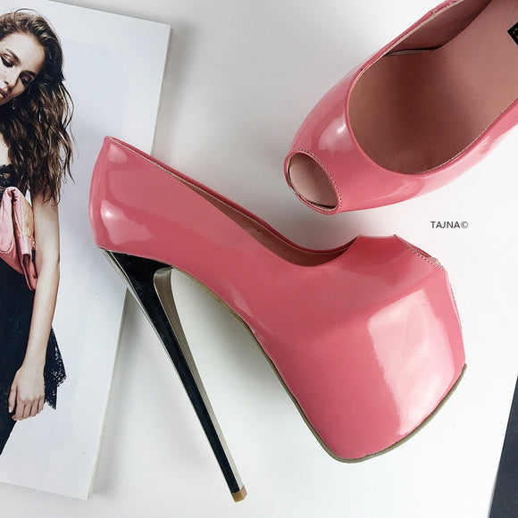 Sugar Pink Patent Platform Pumps - Tajna Club