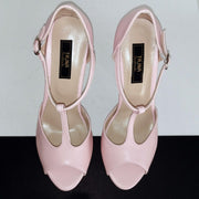 Light Pink Powder Chunky High Heels - Tajna Club