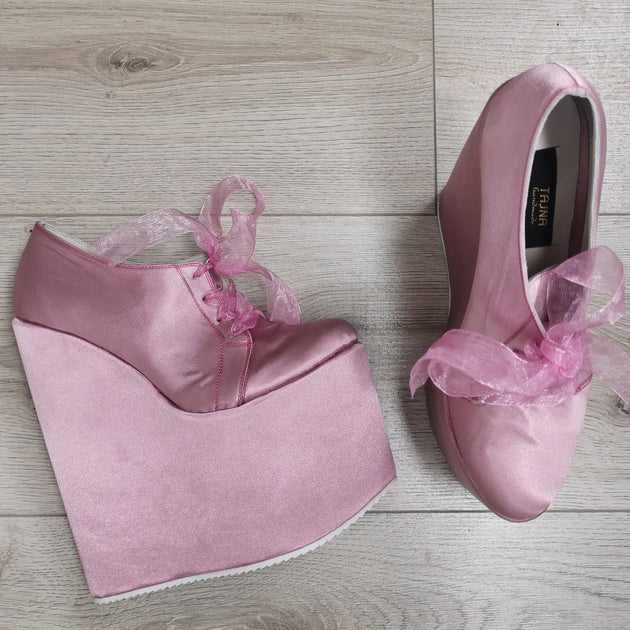 Pink Satin Lace Up High Heel Wedges