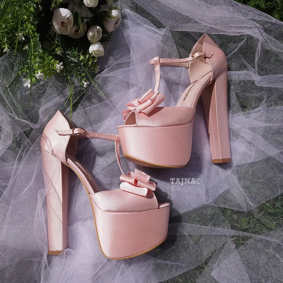 Satin Pink Chunky Heel Platform Wedding Shoes with Ribbon - Tajna Club