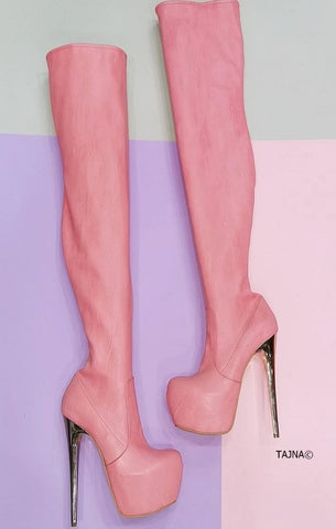 Light Pink Strech Thigh High Boots - Tajna Club
