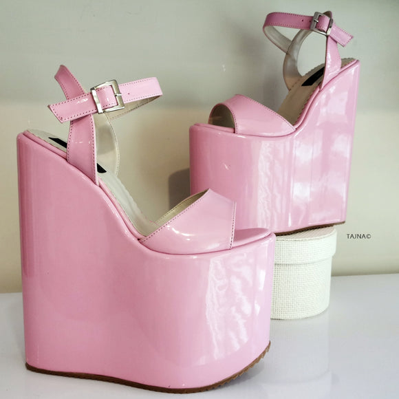 Baby Pink Patent Wedge Sandals - Tajna Club