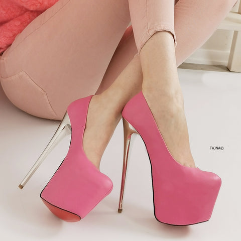 Pink Magenta Metallic Heel Pumps - Tajna Club