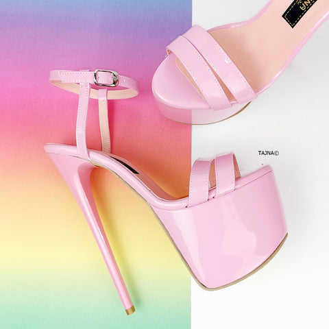 Light Pink Patent Sandal Heels - Tajna Club