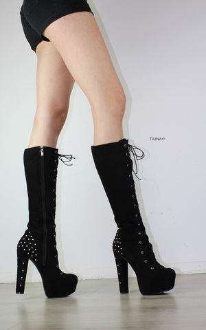 Black Pinned Platform Boots - Tajna Club
