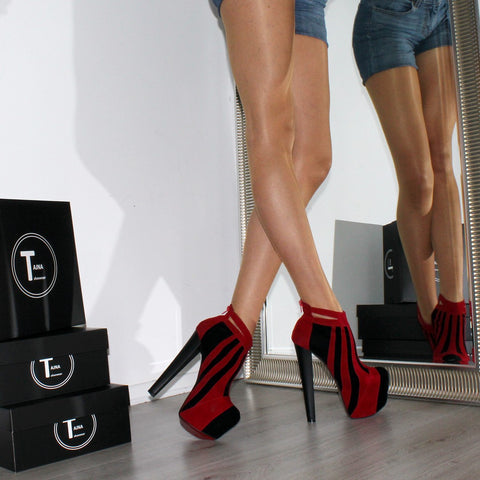 Red Black Suede Stripe Platform Ankle Booties - Tajna Club