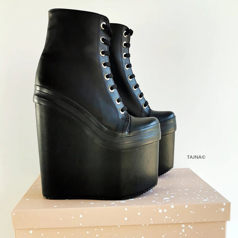 Stylish Black Lace Up Wedge Booties - Tajna Club