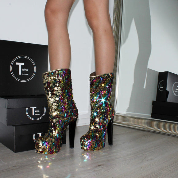 Sequin Shiny High Heel Platform Boots - Tajna Club