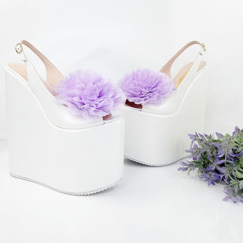 Lily Violet Peep Toe Huge Ribbon Bridal Wedge Shoes - Tajna Club