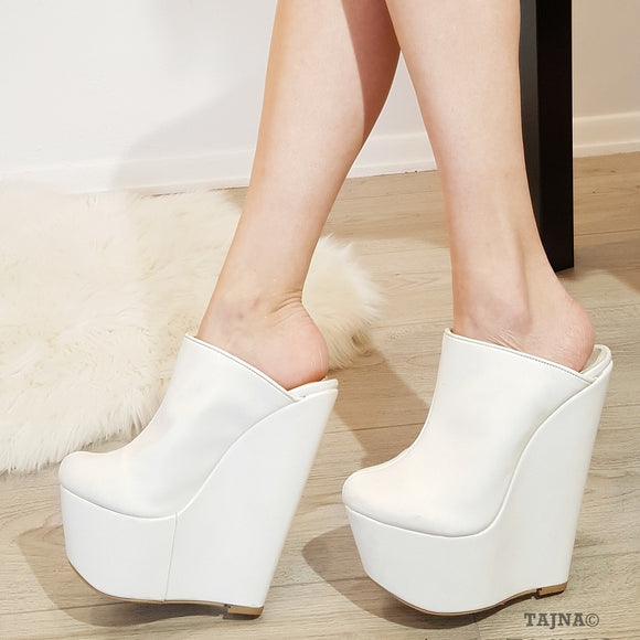 White Faux Leather Sabo 17 cm Heel Wedge Mules - Tajna Club