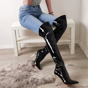 Pointy Nose Black Patent Knee High Boots - Tajna Club