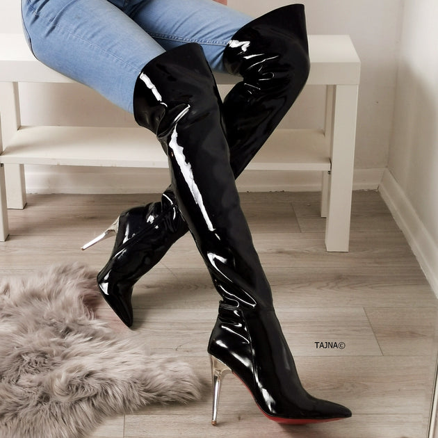 Pointy Nose Black Patent Knee High
