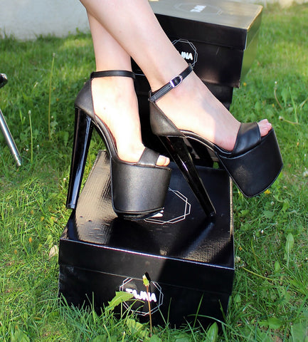 Ankle Strap Black 19 cm High Heel Platform Shoes - Tajna Club