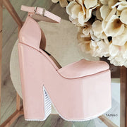 Powder Pink Ankle Strap High Heel Wedges - Tajna Club