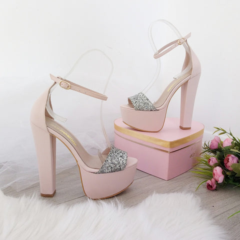 Powder Pink with Silver Shimmer Ankle Strap Platform Sandals - Tajna Club